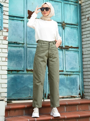 Khaki - Denim -  - Pants