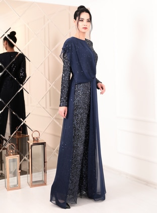 Navy Blue - Navy Blue - Fully Lined - Crew neck - Chiffon - Evening Jumpsuits
