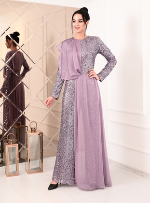 Lilac - Lilac - Fully Lined - Crew neck - Chiffon - Evening Jumpsuits