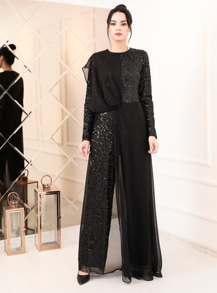 Black - Black - Fully Lined - Crew neck - Chiffon - Evening Jumpsuits