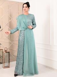 Mint - Fully Lined - Crew neck - Chiffon - Muslim Evening Dress