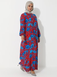 Red - Blue - Floral - Crew neck - Unlined - Dress