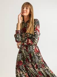 Maroon - Green - Multi - Point Collar - Fully Lined - Dress