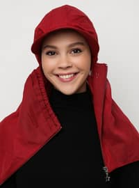 Maroon - Plain - Pinless - Instant Scarf