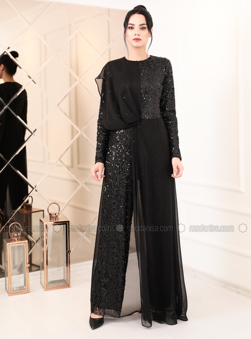 Black - Fully Lined - Crew neck - Chiffon - Muslim Evening Dress