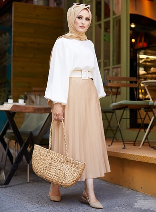 Beige - Unlined - Skirt