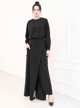 Black - Unlined - Crepe - Evening Suit