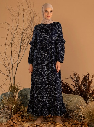 White - Navy Blue - Polka Dot - Crew neck - Unlined - Viscose - Dress