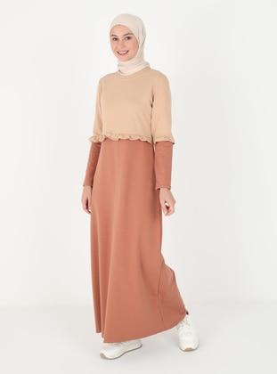 Tan - Crew neck - Unlined - Cotton - Modest Dress