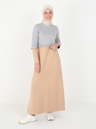 Mink - Crew neck - Unlined - Cotton - Modest Dress