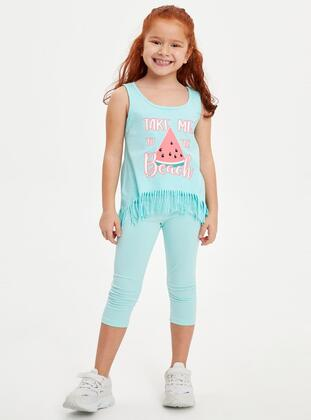 Turquoise - Girls` Leggings