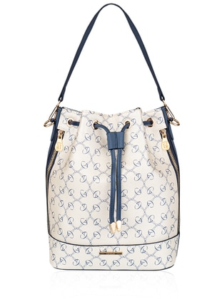 White - Navy Blue - Satchel - Shoulder Bags