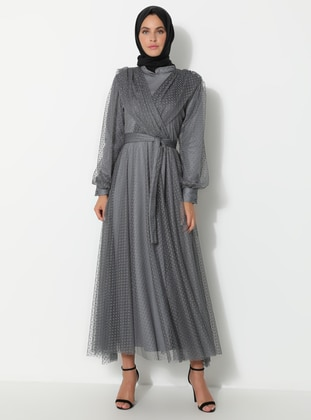Gray - Crew neck - Fully Lined - Muslim Evening Dress
