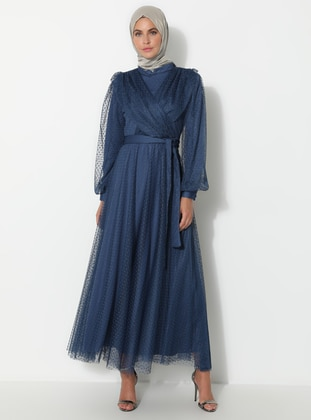 Indigo - Blue - Crew neck - Fully Lined - Muslim Evening Dress