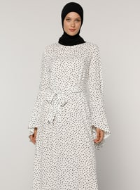 White - Polka Dot - Crew neck - Unlined - Viscose - Dress