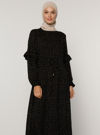Yellow - Black - Polka Dot - Crew neck - Unlined - Viscose - Dress