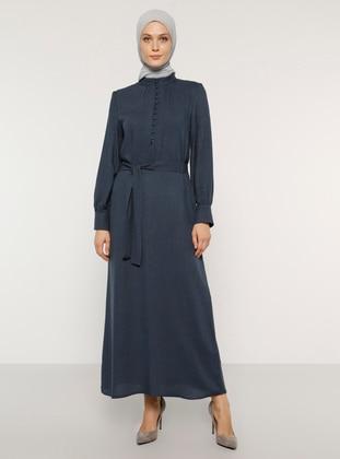 Navy Blue - Button Collar - Unlined - Acrylic - Viscose - Dress
