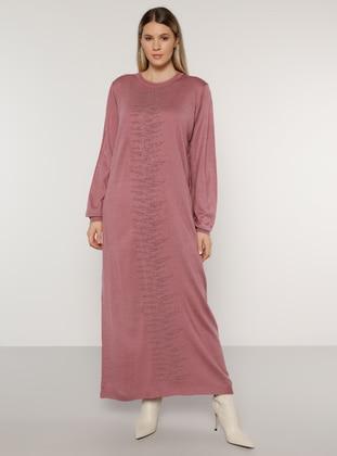Dusty Rose - Acrylic - - Crew neck - Plus Size Knit Dresses - Alia