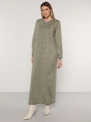 Olive Green - Green - Acrylic - - Crew neck - Plus Size Knit Dresses