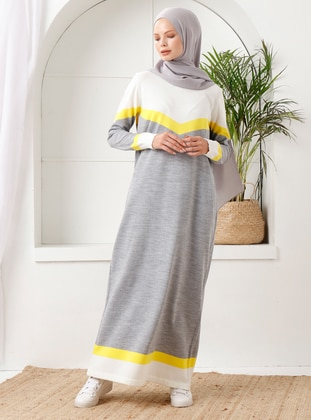 Gray - Unlined - Crew neck - Acrylic -  - Knit Dresses