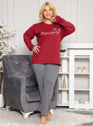 Maroon - Crew neck - Polka Dot - Pyjama Set