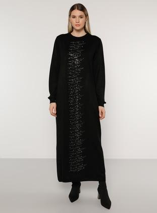 Black - Acrylic -  - Crew neck - Plus Size Knit Dresses - Alia