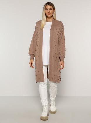 Mink - Acrylic -  - Plus Size Cardigan - Alia
