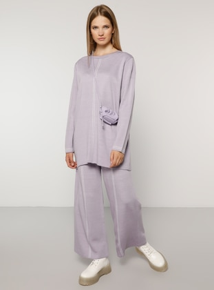 Ecru - Lilac - Crew neck - Unlined - Acrylic -  - Plus Size Suit
