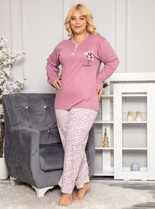 Lilac - V neck Collar - Floral - Pyjama Set