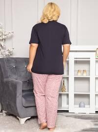 Navy Blue - Button Collar - Floral - Pyjama Set