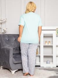 Green - Button Collar - Floral - Pyjama Set