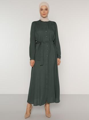 Green - Button Collar - Unlined - Acrylic - Dress