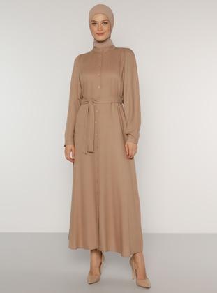 Mink - Button Collar - Unlined - Acrylic - Dress
