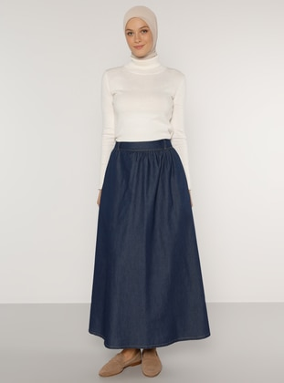 Indigo - Navy Blue - Unlined - Denim -  - Skirt