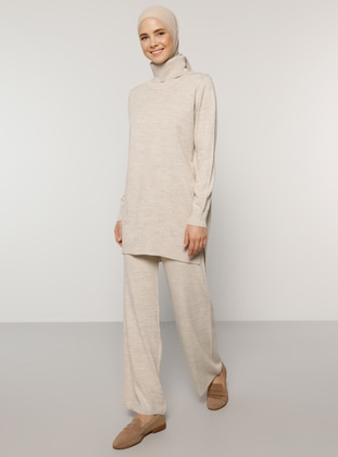 Beige - Unlined - Acrylic -  - Knit Suits