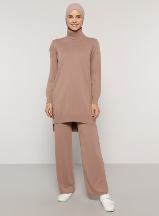 Pink - Unlined - Acrylic -  - Knit Suits - Everyday Basic