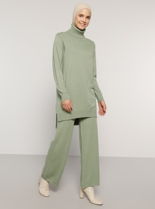 Green - Unlined - Acrylic -  - Knit Suits