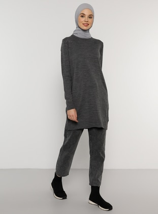 Anthracite - Crew neck - Acrylic -  - Tunic