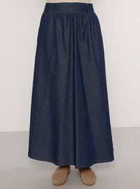 Indigo - Navy Blue - Unlined - Denim -  - Skirt