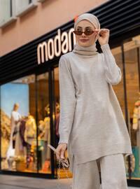 Beige - Unlined - Acrylic -  - Knit Suits