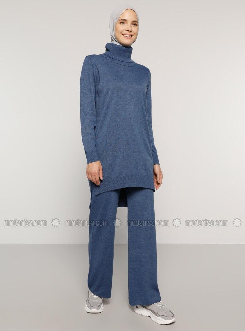 Indigo - Unlined - Acrylic -  - Knit Suits