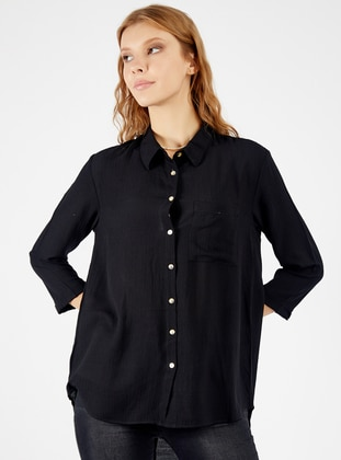 Black - Point Collar - Viscose - Blouses