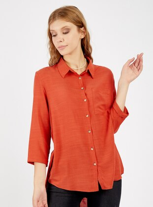 Terra Cotta - Point Collar - Viscose - Blouses