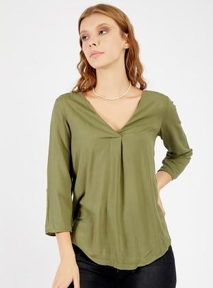 Khaki - V neck Collar - Blouses