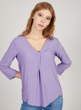 Lilac - V neck Collar - Blouses