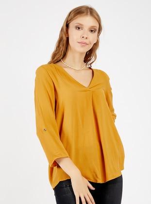 Mustard - V neck Collar - Blouses