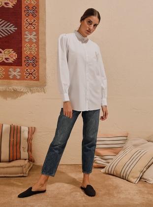 Natural Fabric Lace Ribbon Detailed Shirt - White - Refka Woman