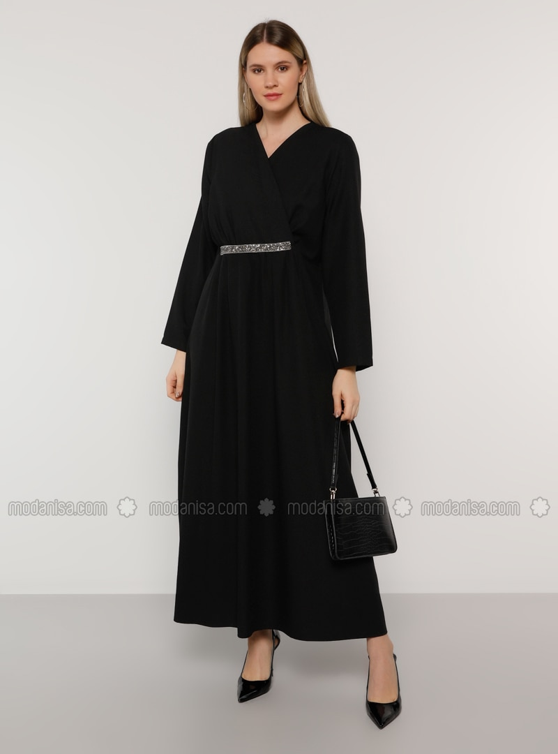 Black - Unlined - V neck Collar - Muslim Plus Size Evening Dress