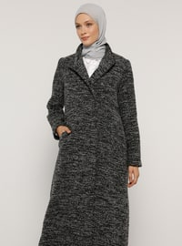 Gray - Fully Lined - Polo neck - Acrylic -  - Coat