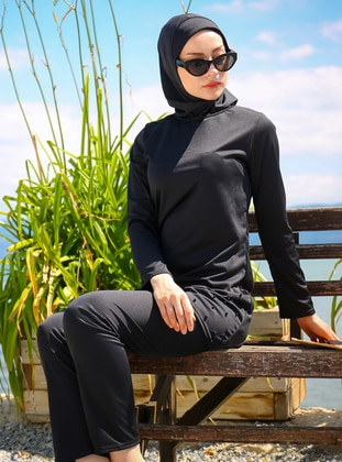 Black - Half Lined - Fully Covered Swimsuits - Riva Mera